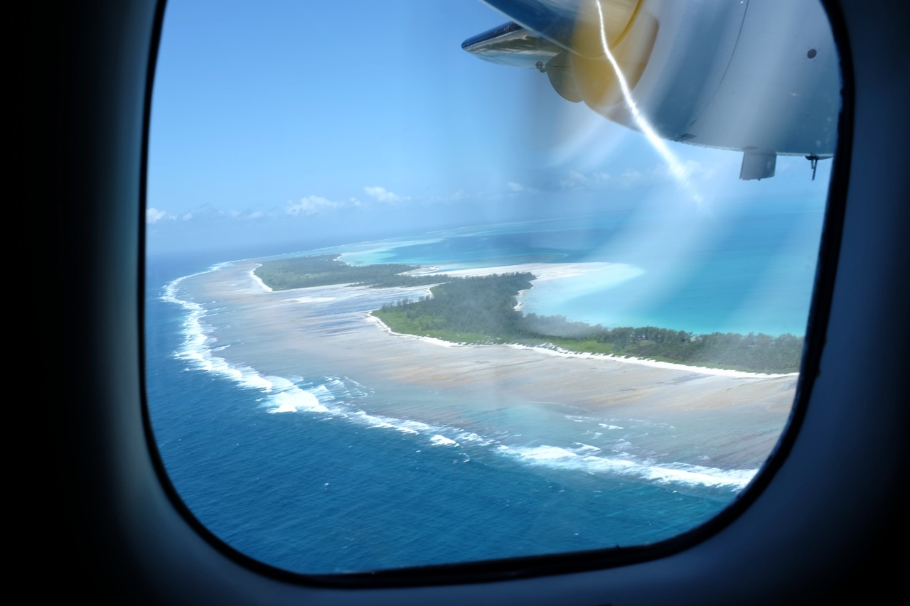 Our first glimpse of Farquhar Atoll - home for the next month.