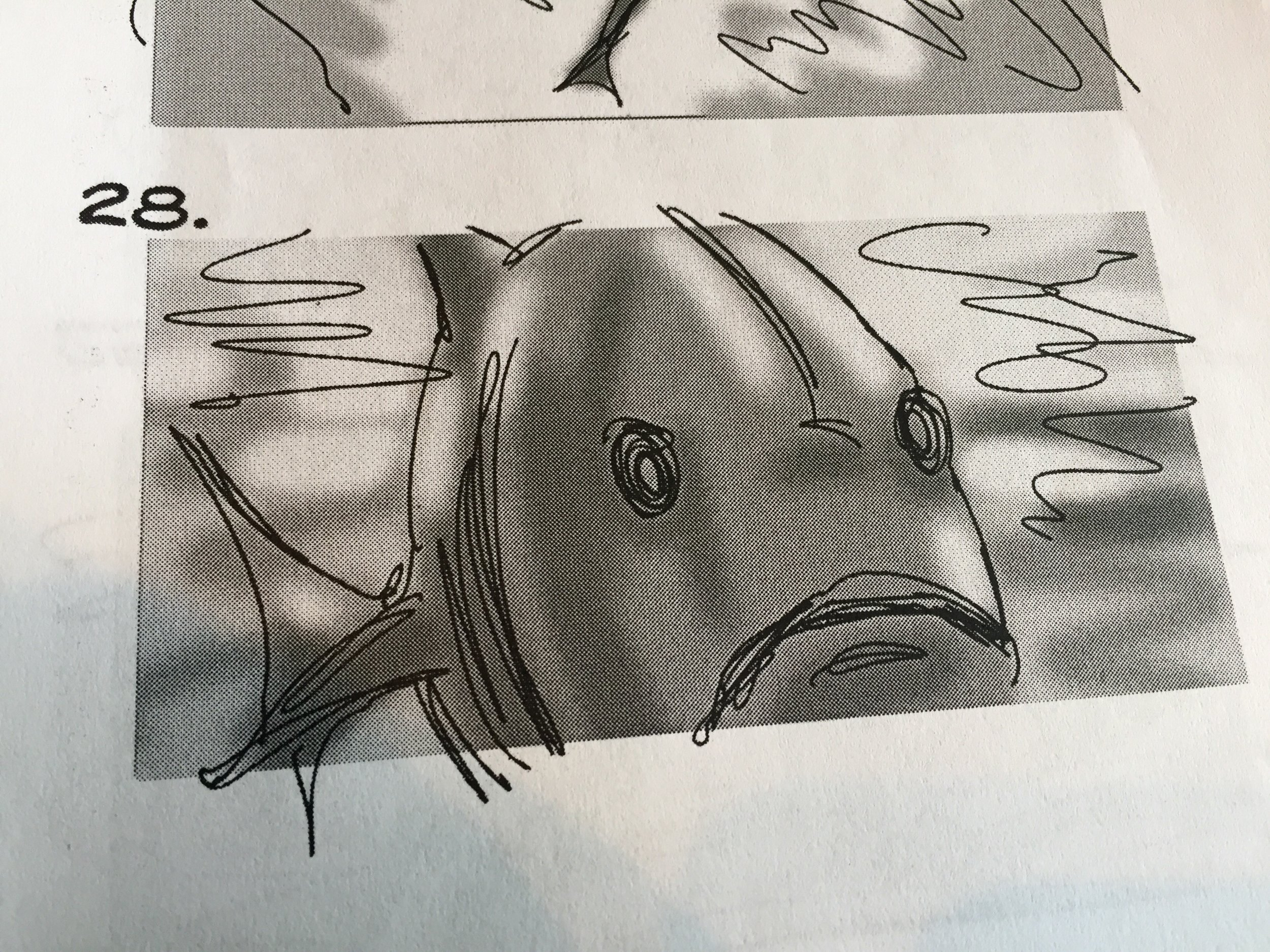 One of the sketches from our story-board for the sequence.