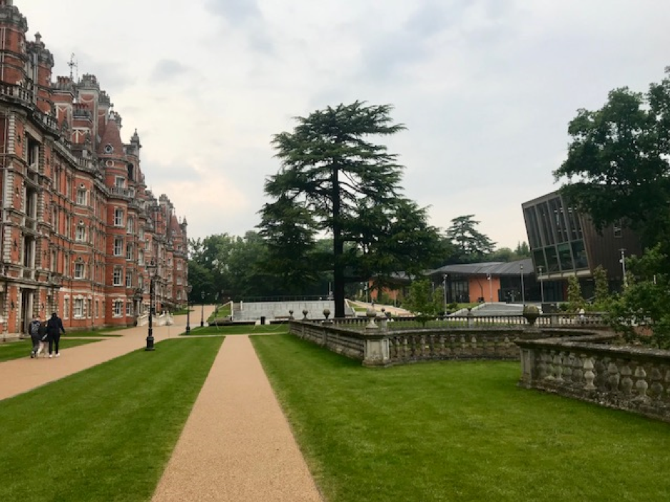 Royal Holloway College, University of London on 24 May 2018. The Founders' Building (left) and Davison Building (right). Photo © Helen S E Parker.