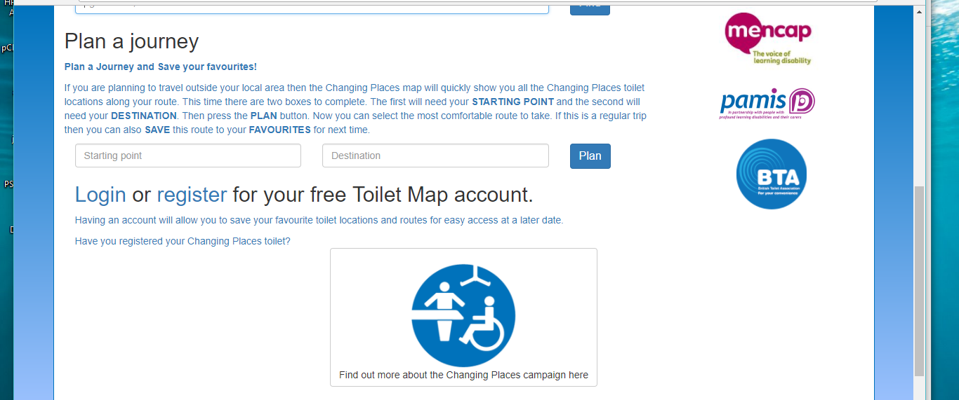 Easy journey toilet search