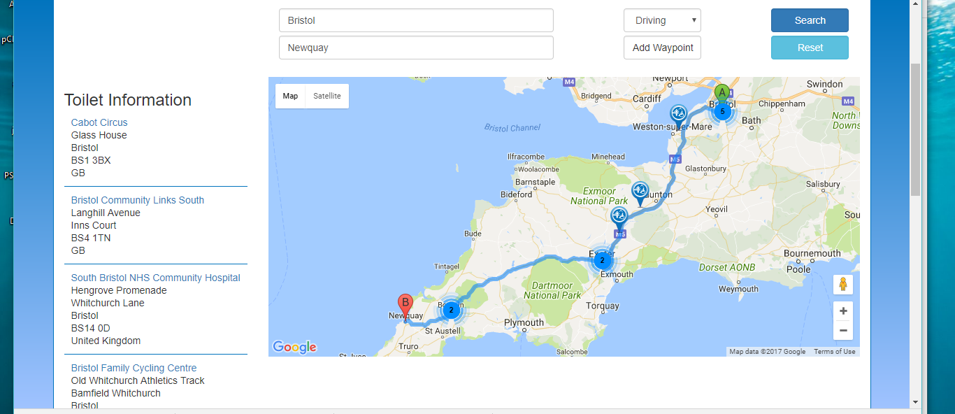 All the potential loo stops from Bristol to Newquay