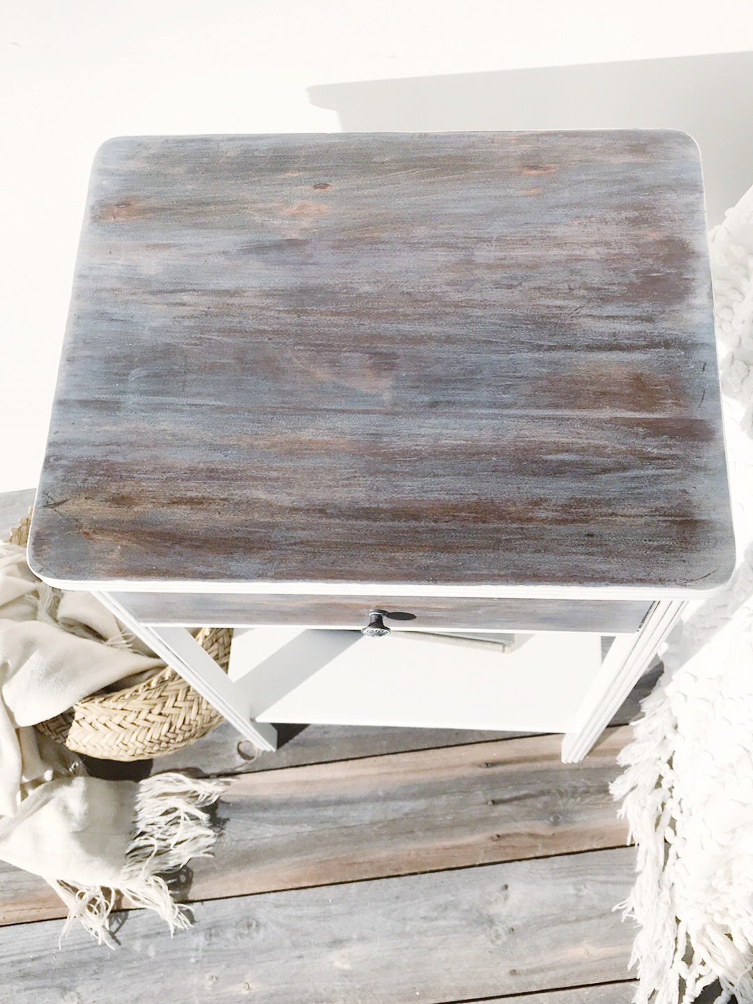 Vintage Nightstand Exposed Wood Top With Painted Body