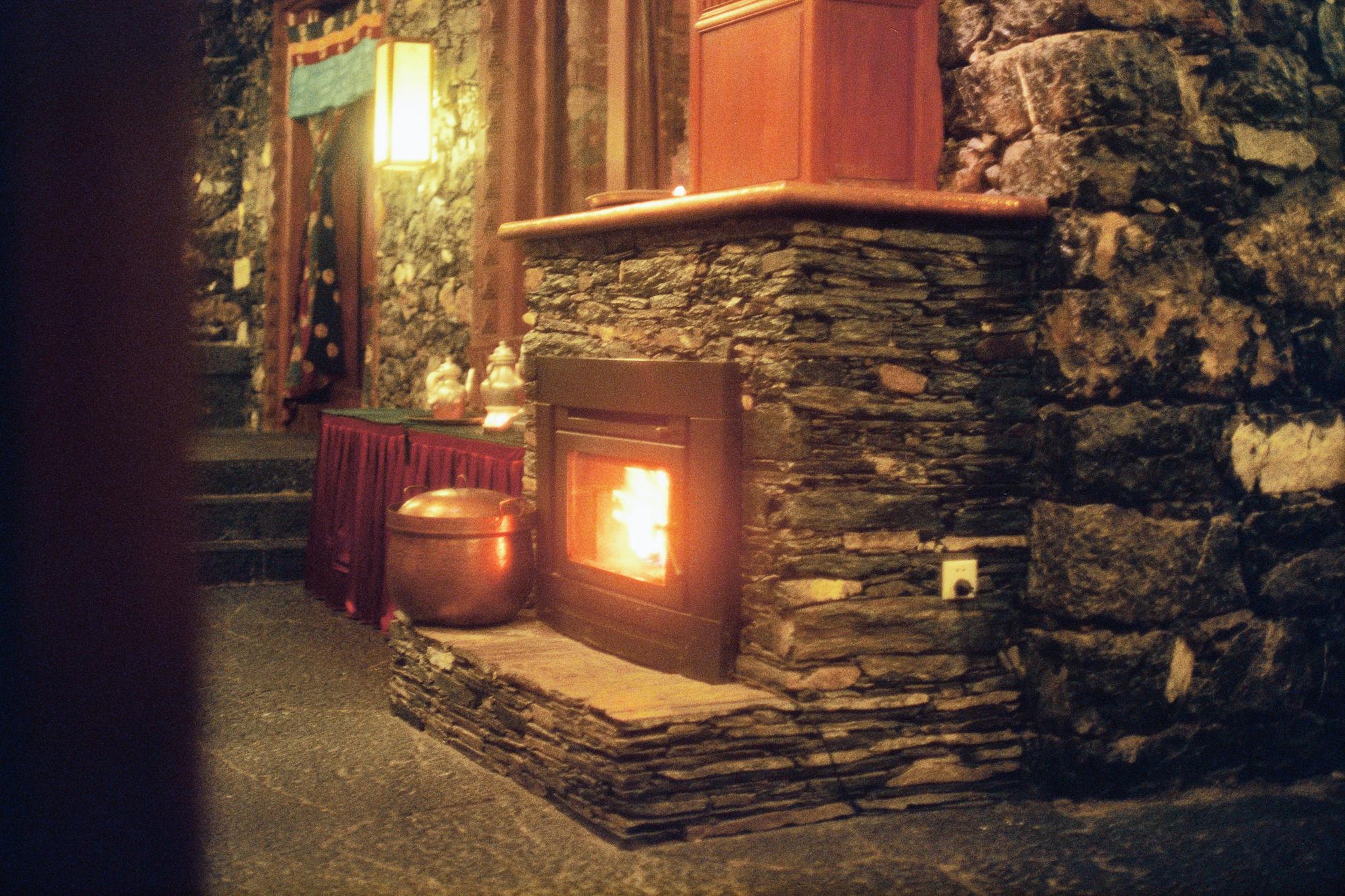 Dinner by the fire in Shangri-La!