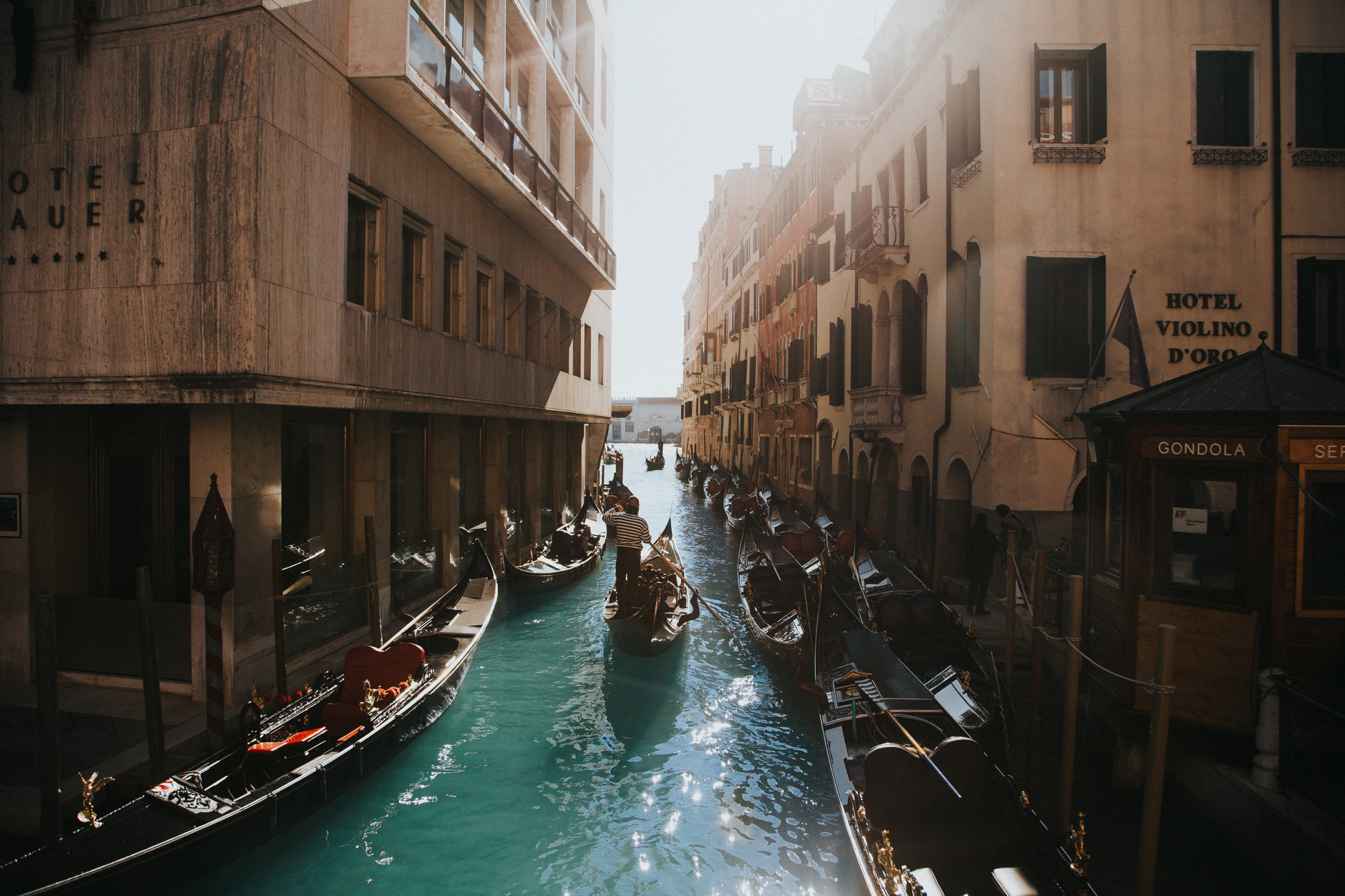 Venice canals on a sunny day.