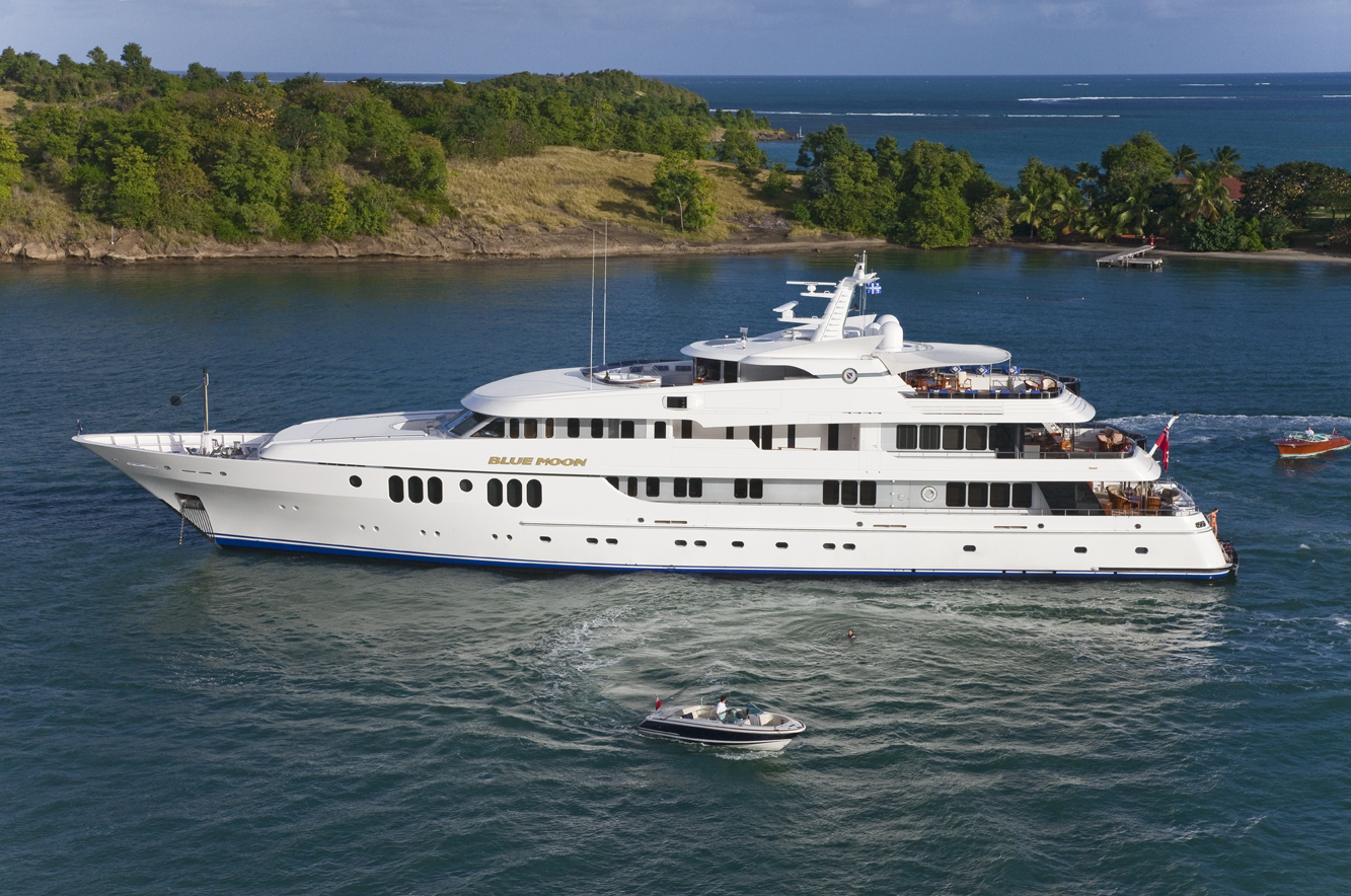 The 198' (60.35m) Feadship   Blue Moon     is the largest vessel in the Newport Charter Yacht Show presented by Helly Hansen. Crewed by a team of 15 professionals, its amenities include a glass elevator and indoor/outdoor dining. (photos courtesy Northrop & Johnson)