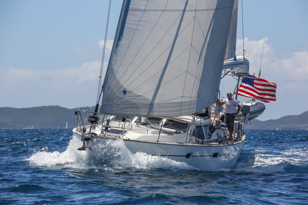 For chartering, the 53' Oyster design sailboat  Contingency    offers an alternative to large motor yachts; a chef is optional. (photo courtesy Nicholson Yachts)