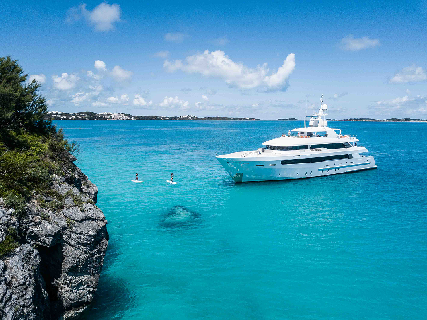 At 150 feet in length, the motor yacht  Time For Us , shown by Burgess, is the largest yacht among 24 at the 2019 Newport Charter Yacht Show presented by Helly Hansen Newport. (photo courtesy of Burgess)