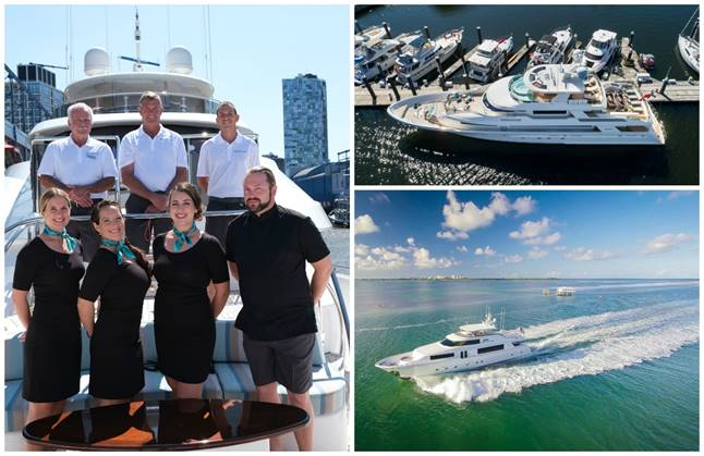Clockwise from left: the Captain and crew of the 130'  Endeavour ;  Endeavour  at berth; the 112'  Jopaju  underway. Both motor yachts will be shown by AvYachts. (Photos courtesy of AvYachts)