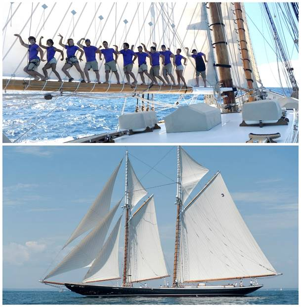 One of the most storied yachts at the Newport Charter Yacht Show, the 141' sailing schooner  Columbia , shown by Classic-Charters, sails with eight crew for cruising charters and up to 20 crew for racing charters. (Top photo courtesy of Classic-Charters; bottom photo credit Mark Krasnow Photography)