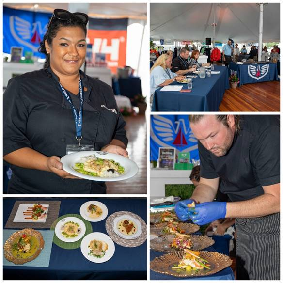 Clockwise from top left: Winning Chef Abby Pawlick M/V  Enterprise;  judges panel; runner-up Chef Rio Alexander M/V  Endeavour;  platings of presentations by six chefs. (photos by Billy Black)