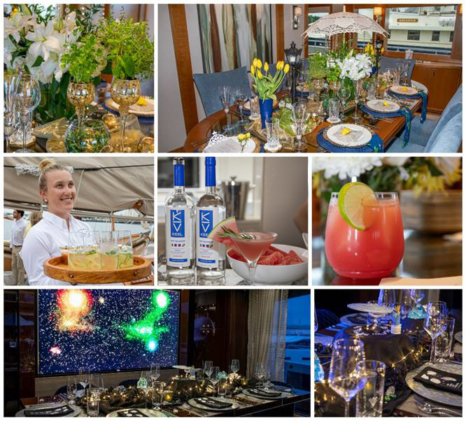 "Top row : Tablescaping Pro Favorite ""Singing in the Rain"" M/V  Endeavour;   Second Row : Specialty Cocktail top-three finishers S/V Columbia,  M/V  Invision  and  Magical Days ;  Third Row : Tablescaping Fan Favorite ""Eat Long and Prosper"" Star Trek M/ V  Enterprise (photos by Billy Black)"