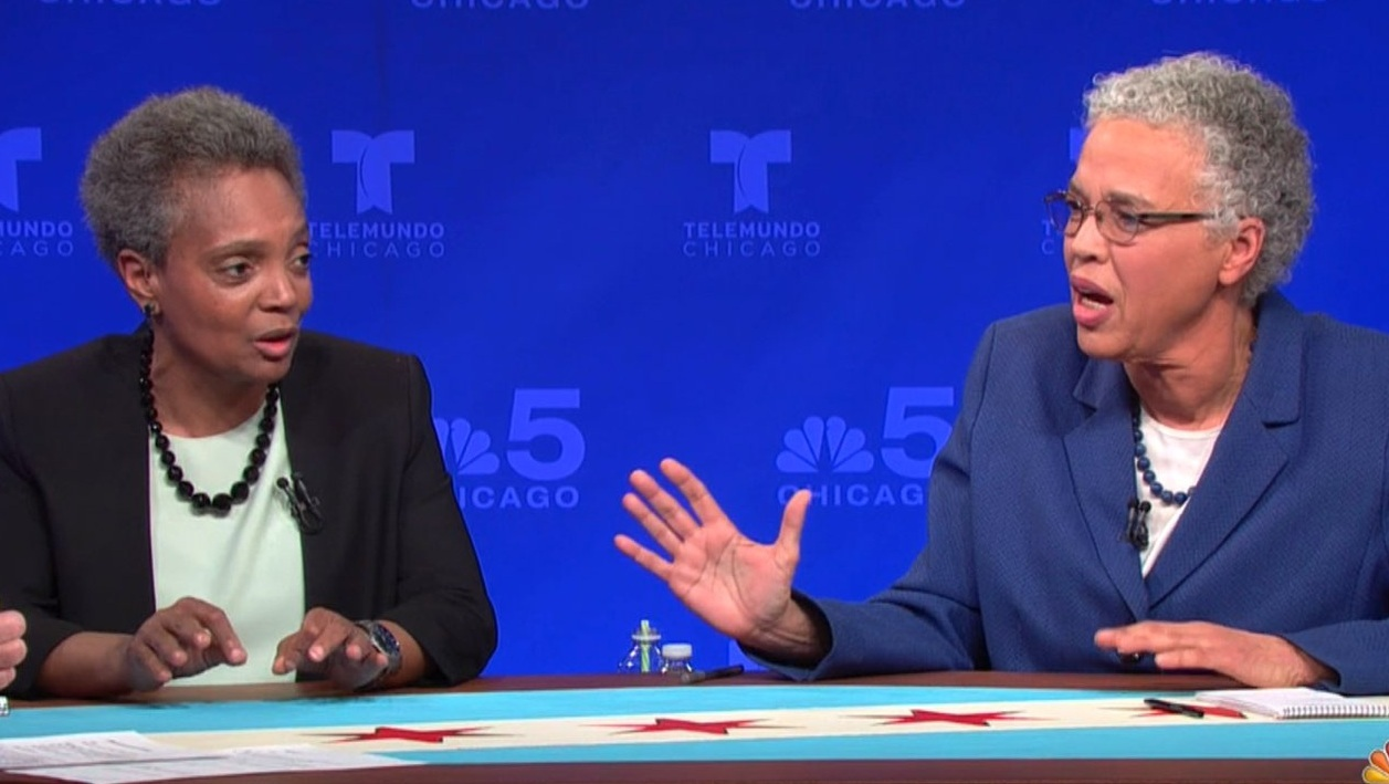 Candidates Lori Lightfoot (left) and Cook County Board President Toni Preckwinkle spar during the March 7 mayoral runoff forum that aired on WMAQ-Ch. 5 and Telemundo Chicago. The two will face off in an April 2 election. (Video Screengrab)