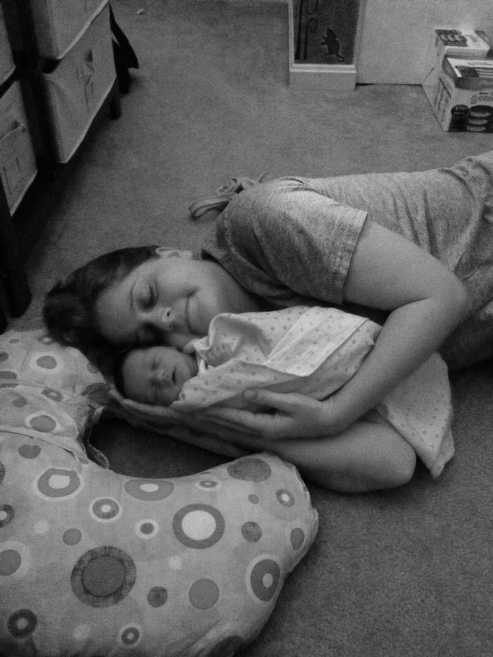 Kristin with her newborn daughter, Avery