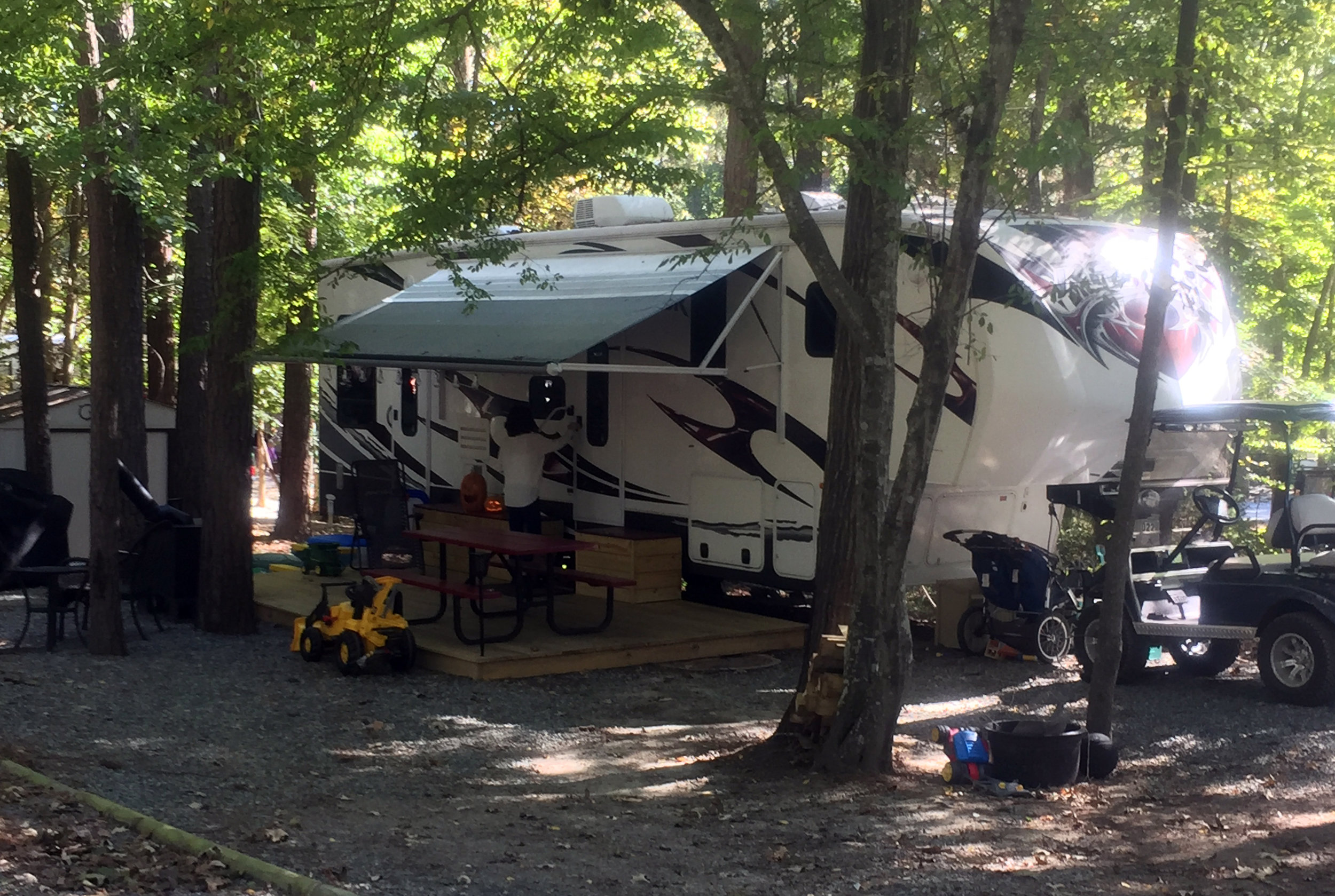 The Brinkley's camper at Forest Lake Campground.
