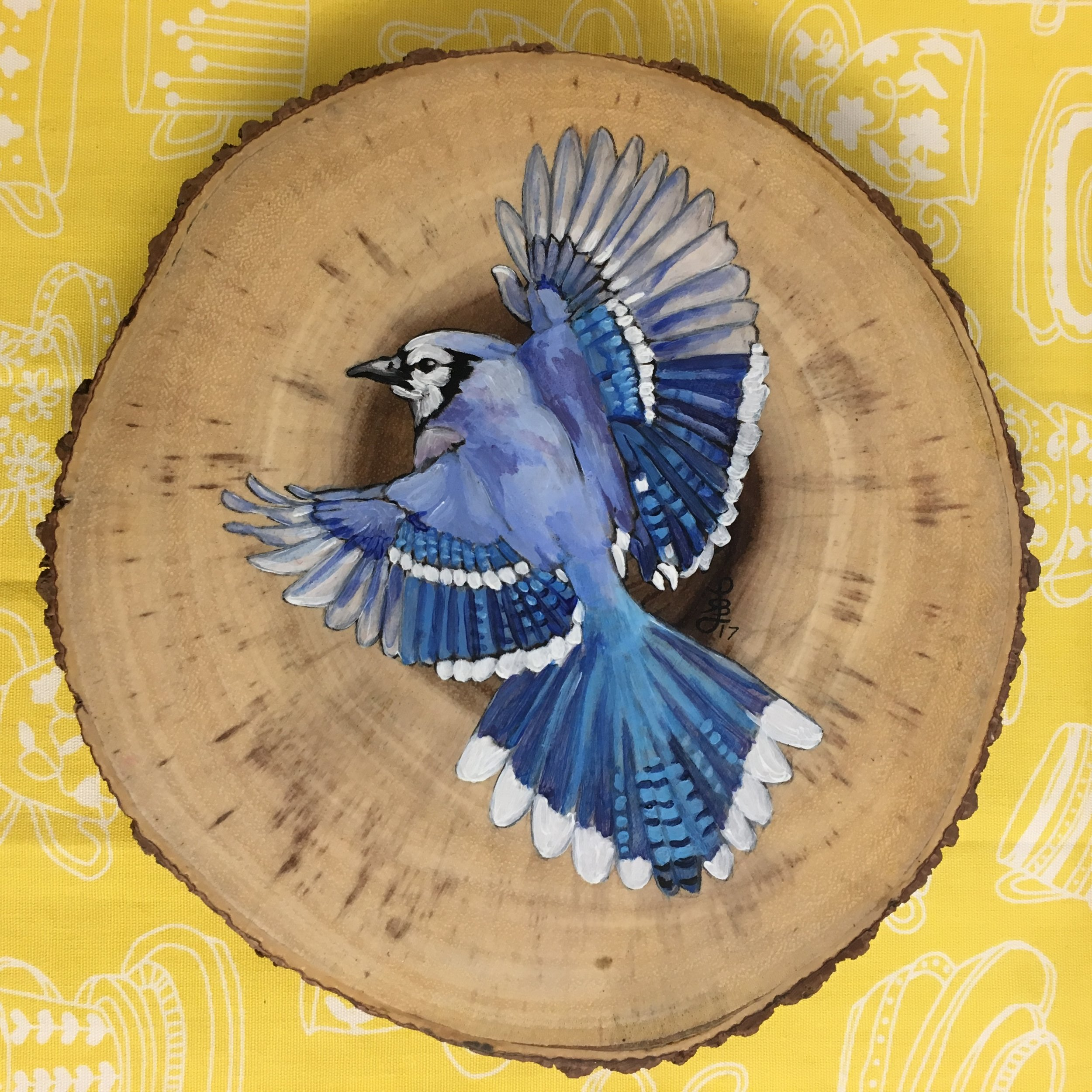 8 inch Blue Jay Serving Tray - Decorate your table in style with this 8 inch acacia wood serving tray with wood legs. Blue Jay is painted with acrylic and sealed with varnish. This tray is for decorative purposes only and not suitable for direct food contact. Wipe clean with a damp cloth, do not soak or put in the dishwasher.$50, plus sales tax and shipping