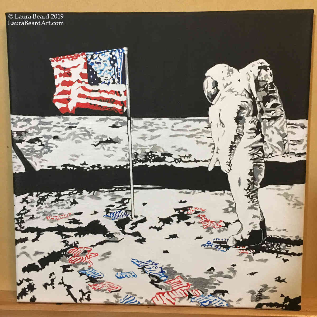 """Where There Is A Will""   ""Where There Is A Will"" is an 12""x12"" acrylic painting on canvas (unframed) depicts the Apollo 11 landing and moonwalk on July 20, 1969. The footprints are depicted in the colors of the flag as this piece was created on the 50th anniversary and depicts the power of collective resolve to create solutions for change. This same spirit, I believe, can lead us forward through the challenges of climate change, pollution, and refuge crises.    This painting is available for immediate purchase."