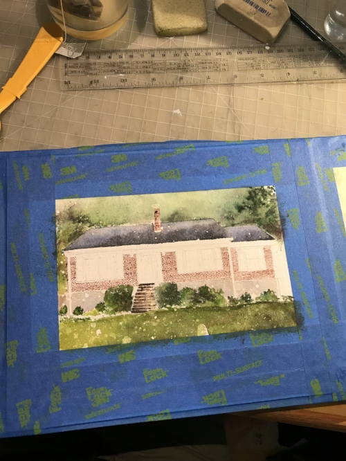 Adding in more detail- each of these bricks were painted individually, and then washes were applied over them later in the painting to make it look a bit more believable.