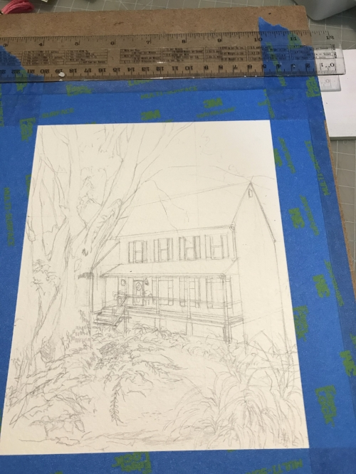 Pencil sketch outlining the key features of the painting. The tree in the front yard was shifted to the right and slightly enlarged to disguise the garage on the side of the house.