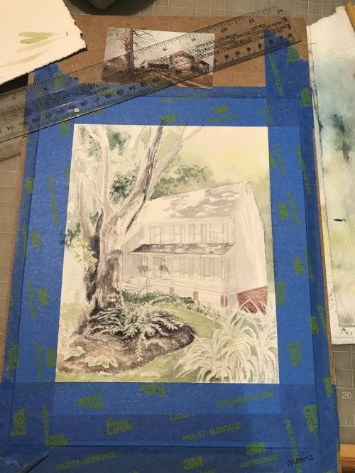 Beginning stages of watercolor washes