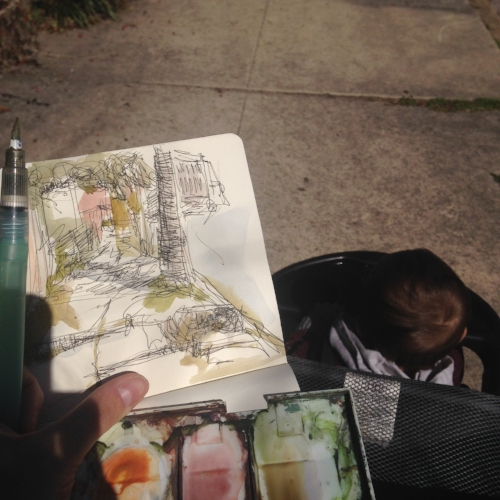 100 Days Project- stroller sketch crawls of RVA with my little man <3