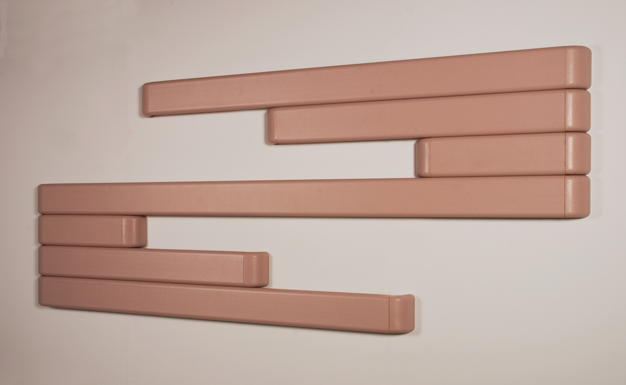 "Construction in #381 Dawn cut and assembled plastic handrails 39"" x 96"" x 3"" 2008"