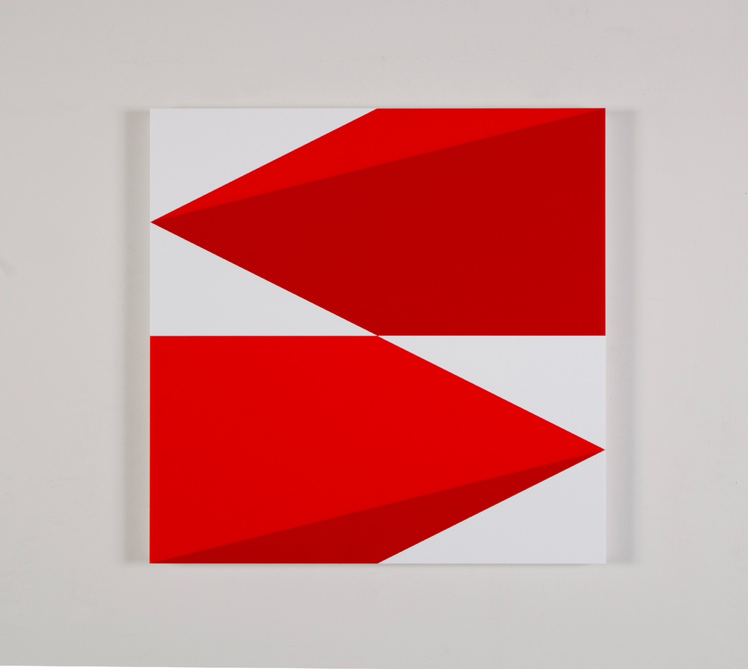 "Composition in 2662 Red, 2793 Red and 3015 White 22 1/2"" x 22 1/2"" 2016"