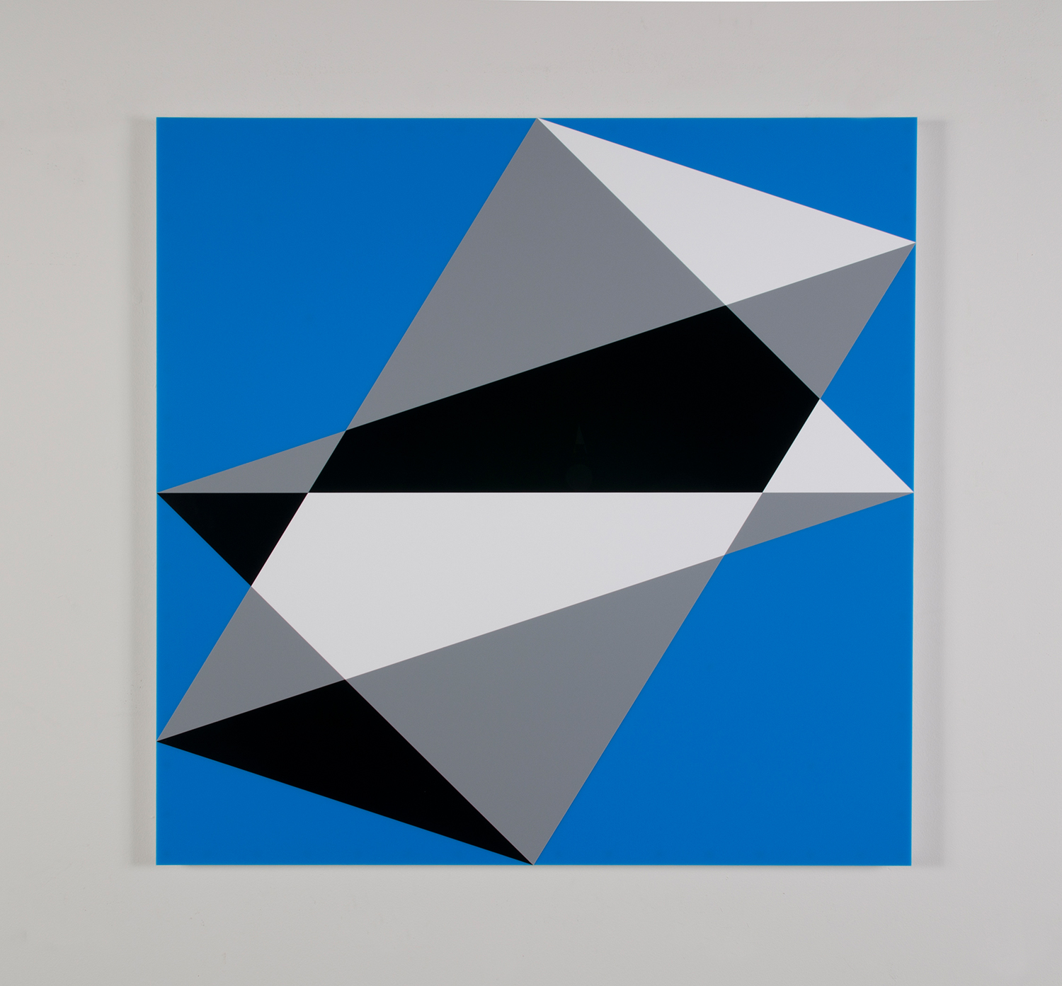 "Composition in 3015 White, 3001 Gray, 2025 Black and 2648 Blue Colored Plexiglas mounted on panel 37.5"" x 37.5"" 2015"