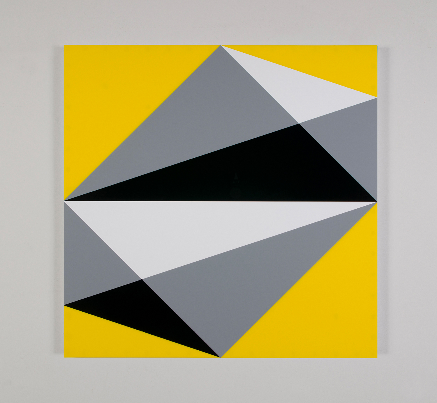 "Composition in 3015 White, 3001 Gray, 2025 Black and 2037 Yellow Colored Plexiglas mounted on panel 37.5"" x 37.5"" 2015"