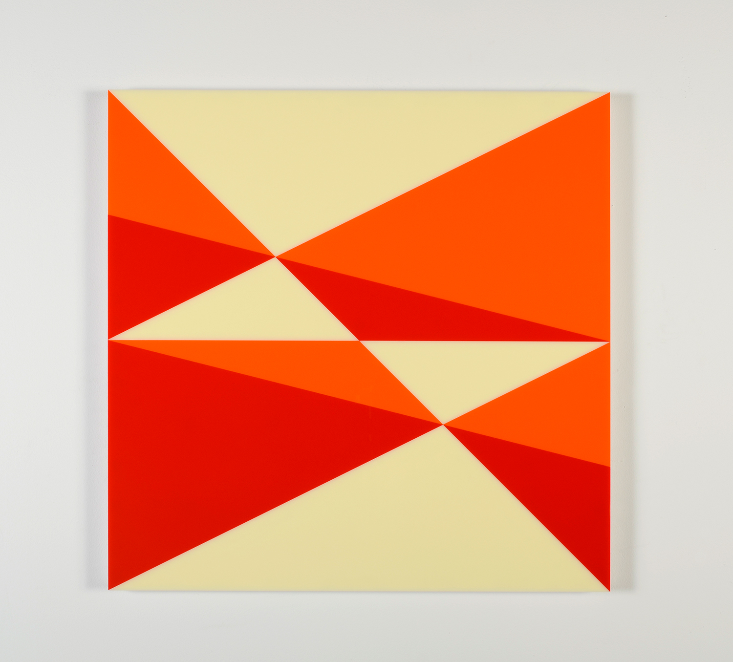 "Composition in 2119 Orange, 2662 Red and 2146 Ivory Colored Plexiglas mounted on panel 30"" x 30"" 2014"