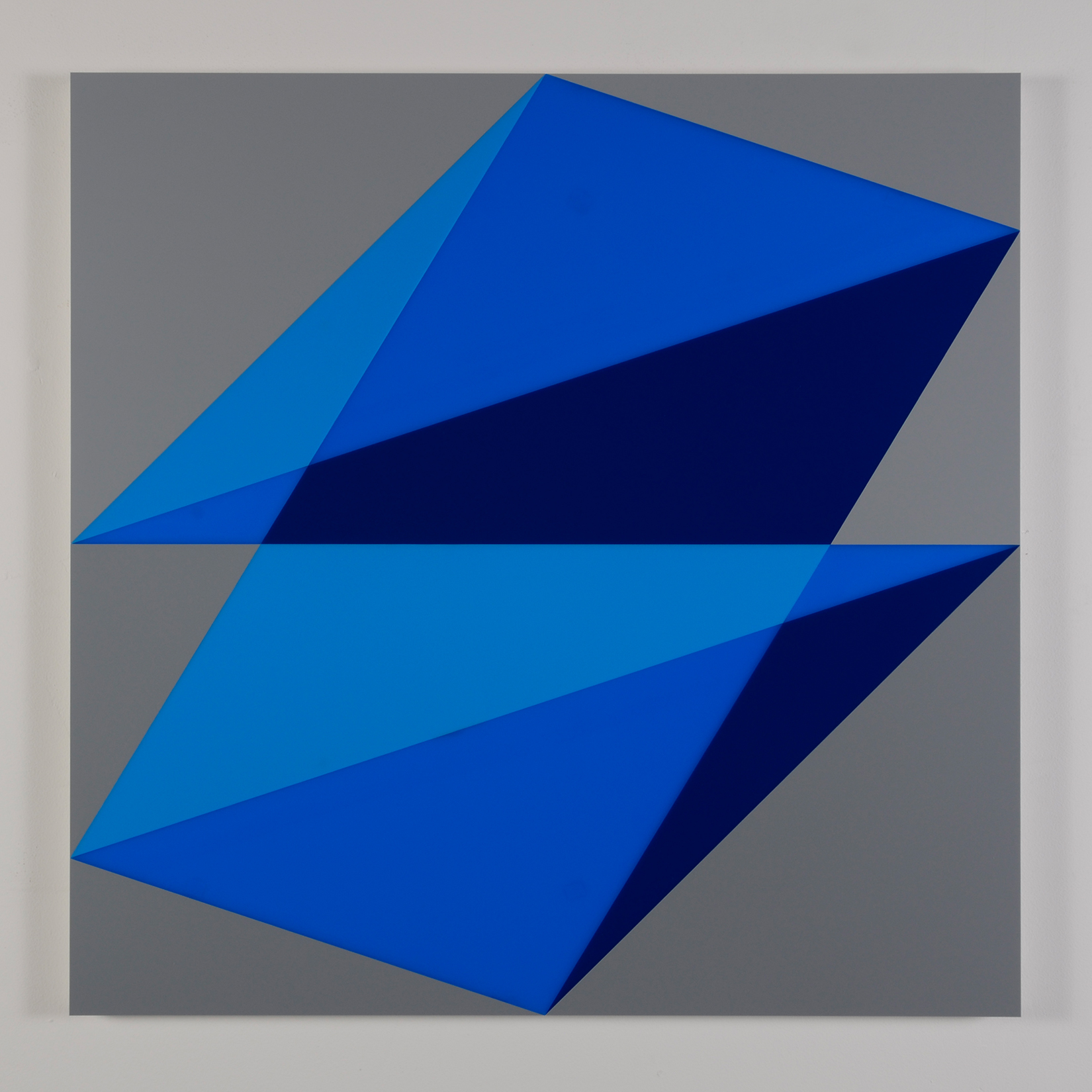 "Composition in 2648 Blue, 2051 Blue, 2114 Blue and 3001 Gray Colored Plexiglas mounted on panel 37.5"" x 37.5"" 2015"