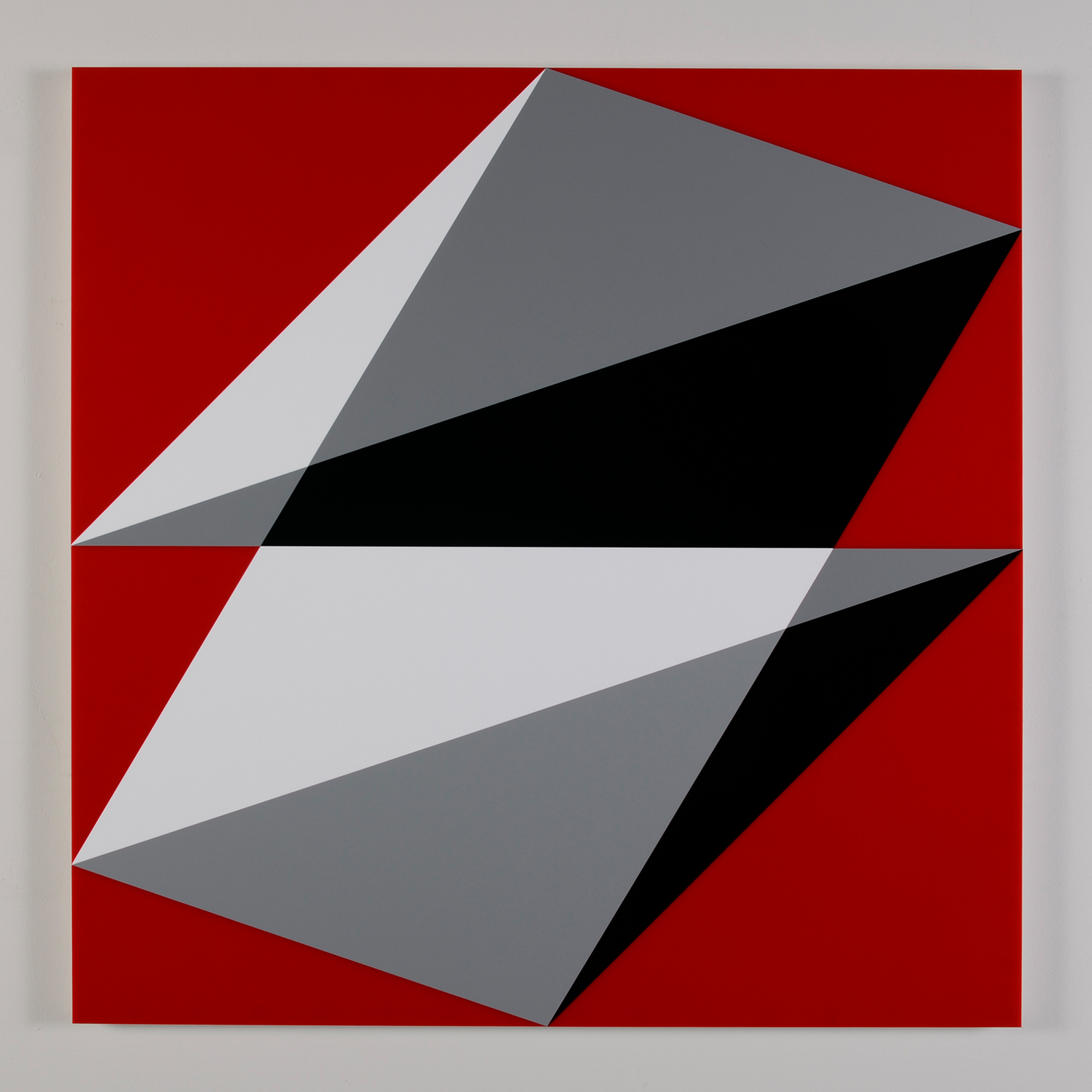 "Composition in 3015 White, 3001 Gray, 2026 Black and 2793 Red  Colored Plexiglas mounted on panel  37.5"" x 37.5"" 2015"