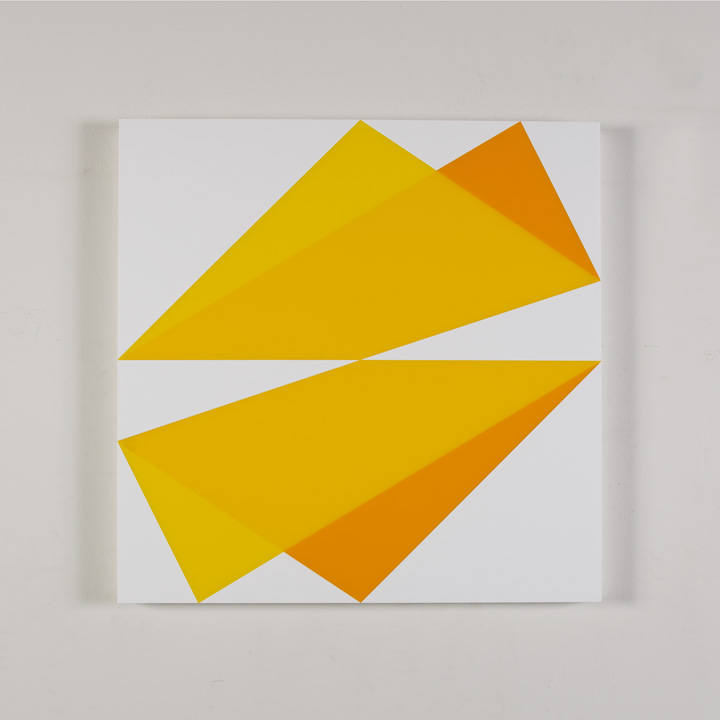 "Composition in 2037 Yellow, 2465 Yellow, 2016 Yellow and 3015 White Colored Plexiglas mounted on panel 22 1/2 x 22 1/2"" 2017"