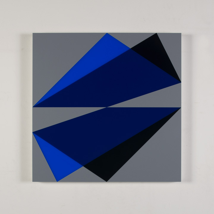"Composition in 2050 Blue, 2114 Blue, 5295BA Indigo and 3001 Gray Colored Plexiglas mounted on panel 22 1/2"" x 22 1/2"" 2017"