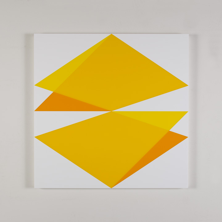 "Composition in 2037 Yellow, 2465 Yellow, 2016 Yellow and 3015 White Colored Plexiglas mounted on panel 30"" x 30"" 2017"