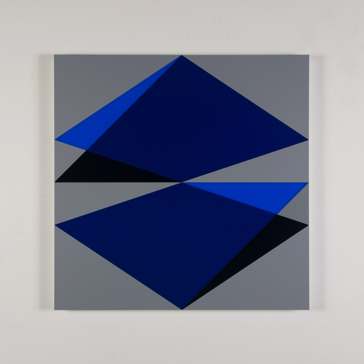 "Composition in 2050 Blue, 2114 Blue, 5295BA Indigo and 3001 Gray Colored Plexiglas mounted on panel 30"" x 30"" 2017"