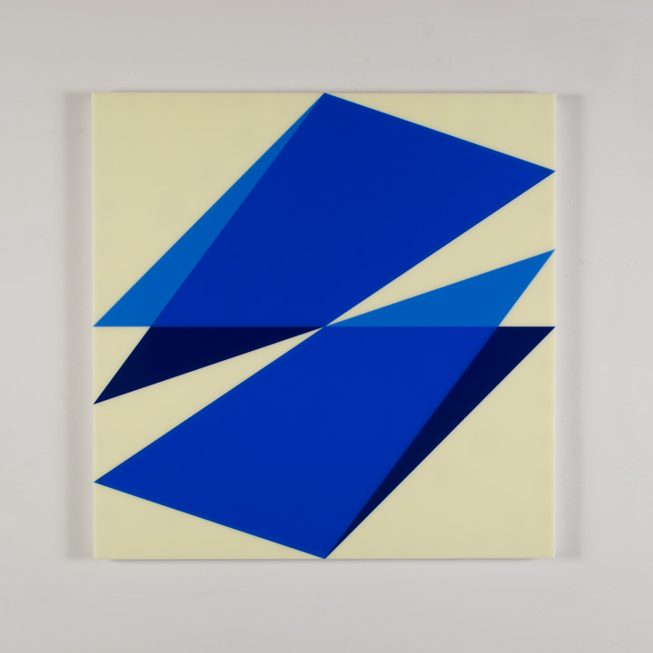 "Composition in 2648 Blue, 2050 Blue, 2114 Blue and 2146 Ivory Colored Plexiglas mounted on panel 30"" x 30"" 2017"