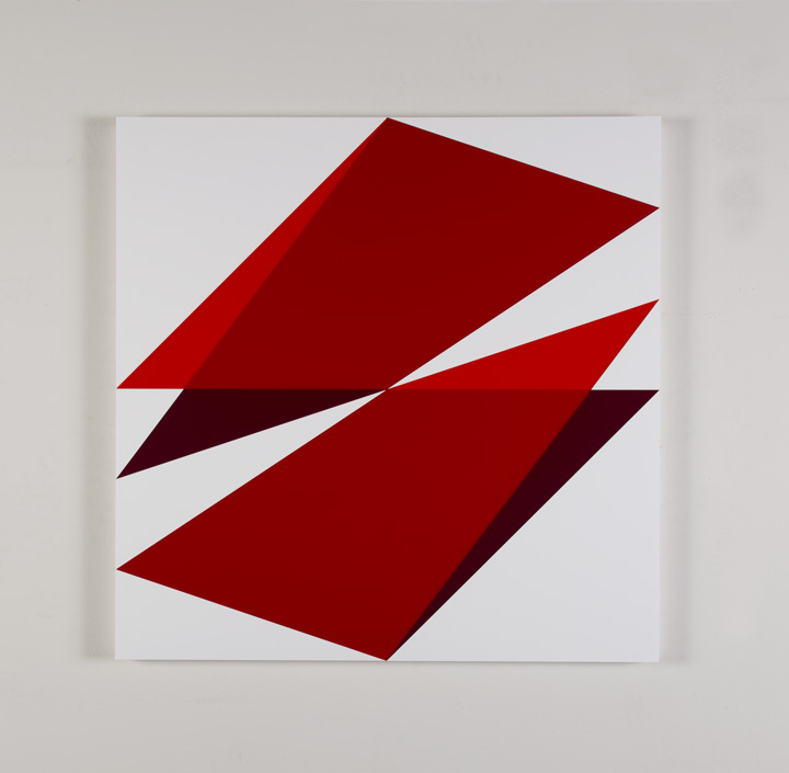 "Composition in 2662 Red, 2793 Red, 2240 Maroon and 3015 White Colored Plexiglas mounted on panel 30"" x 30"" 2017"
