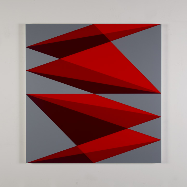 "Composition in 2662 Red, 2793 Red, 2240 Maroon and 3001 Gray Colored Plexiglas mounted on panel 37 1/2 x 37 1/2"" 2017"