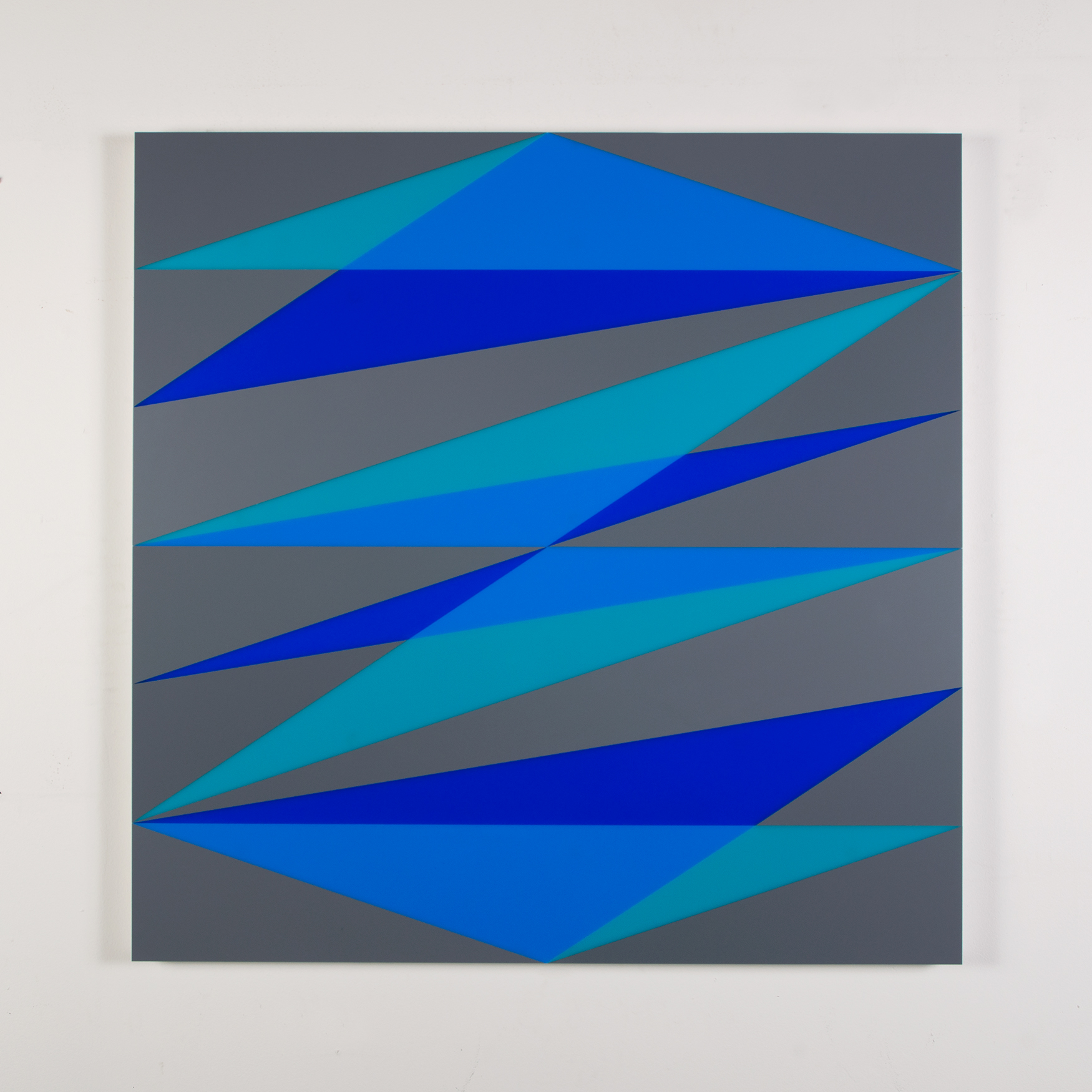 "Composition in 2308 Turquoise, 2648 Blue, 2051 Blue and 3001 Gray Colored Plexiglas mounted on panel 37 1/2"" x 37 1/2"" 2017"