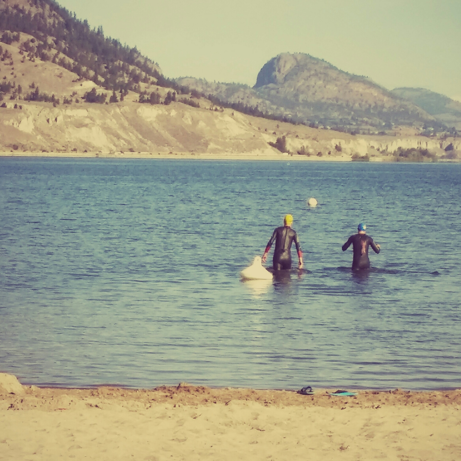 Pre-race swim work with a World Champ medallist.  Penticton, British Columbia.