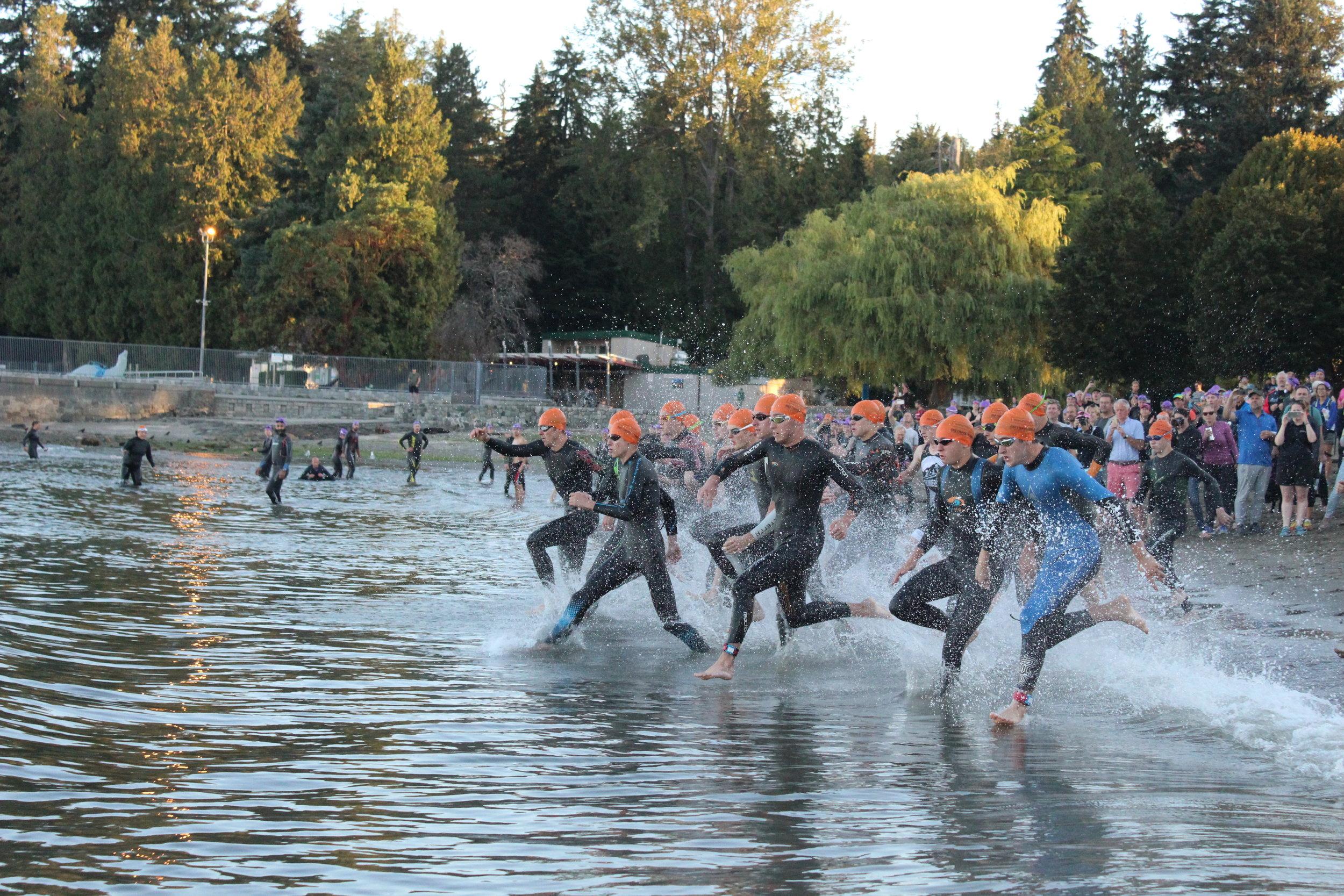 Triathlon Coach at Race Swim Start