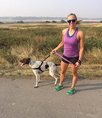Catherine Running with Dog in Glenbow