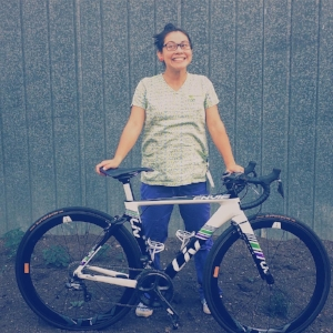 Triathlete with her new bike