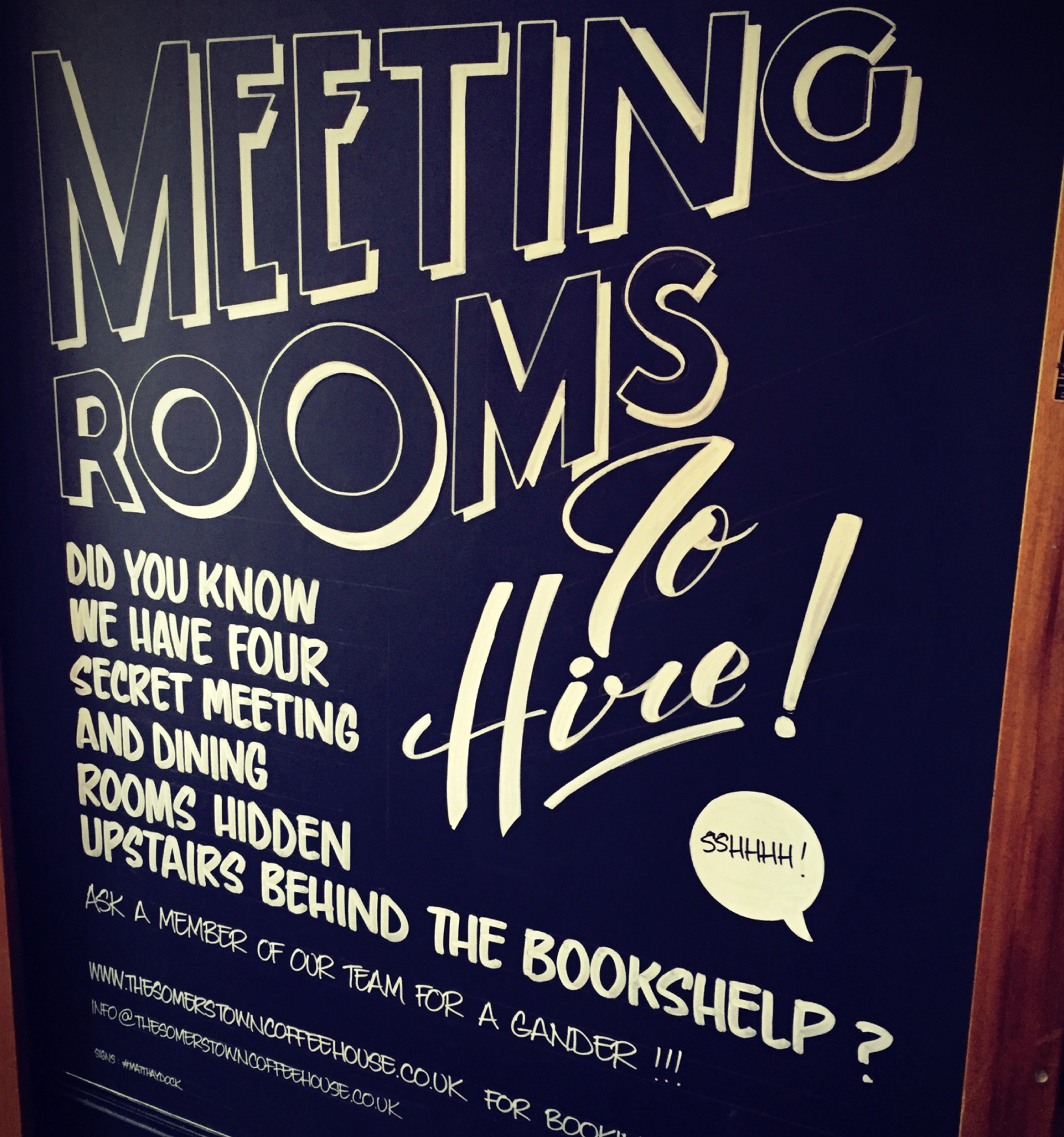 Meeting rooms at The Somers Town Coffee House…hidden through the bookcase