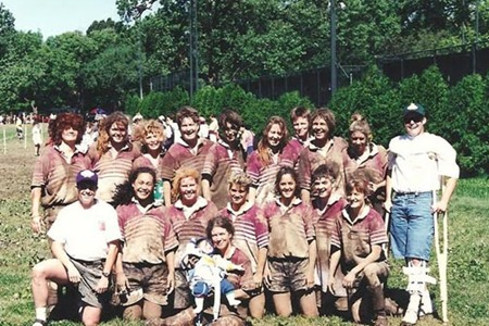 1995 Nationals after a match against Boston W.R.F.C. Back: ?, Connie Gunter, Susan  Haeffner , Lori Gilbrech, Suzie Schlow, Karen Cagle, Pam Smith, Jules McCoy, Vicki McNeill, Carrie Sage Middle: Leslie Taylor, Louise Lotto, Erica Carey, Kim Turner, Laura Cabrera, Angela Stacks, Allyson Simmons Front: Wilma Keller (holding Hunter Law) Not Pictured: Lee Hobson