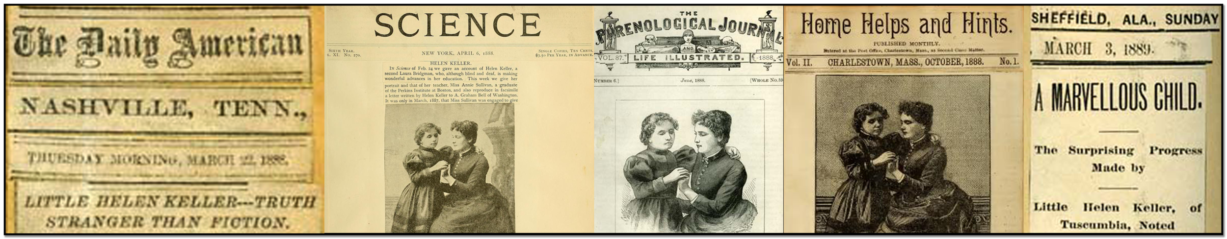 Five newsclippings of Helen Keller, three with pictures of her and Annie Sullivan