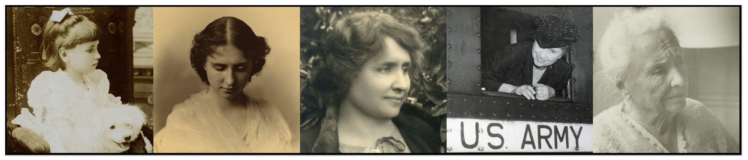 Row of five Helen Keller portraits, from early childhood through womanhood to old age