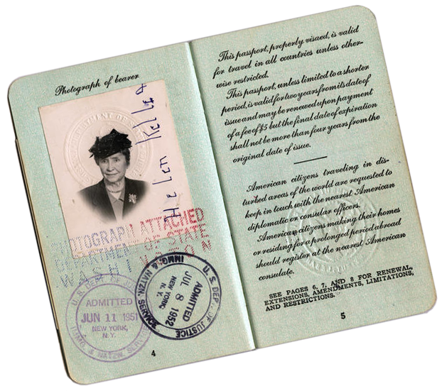 Helen Keller's open passport showing her photo and travel stamps in early 1950s