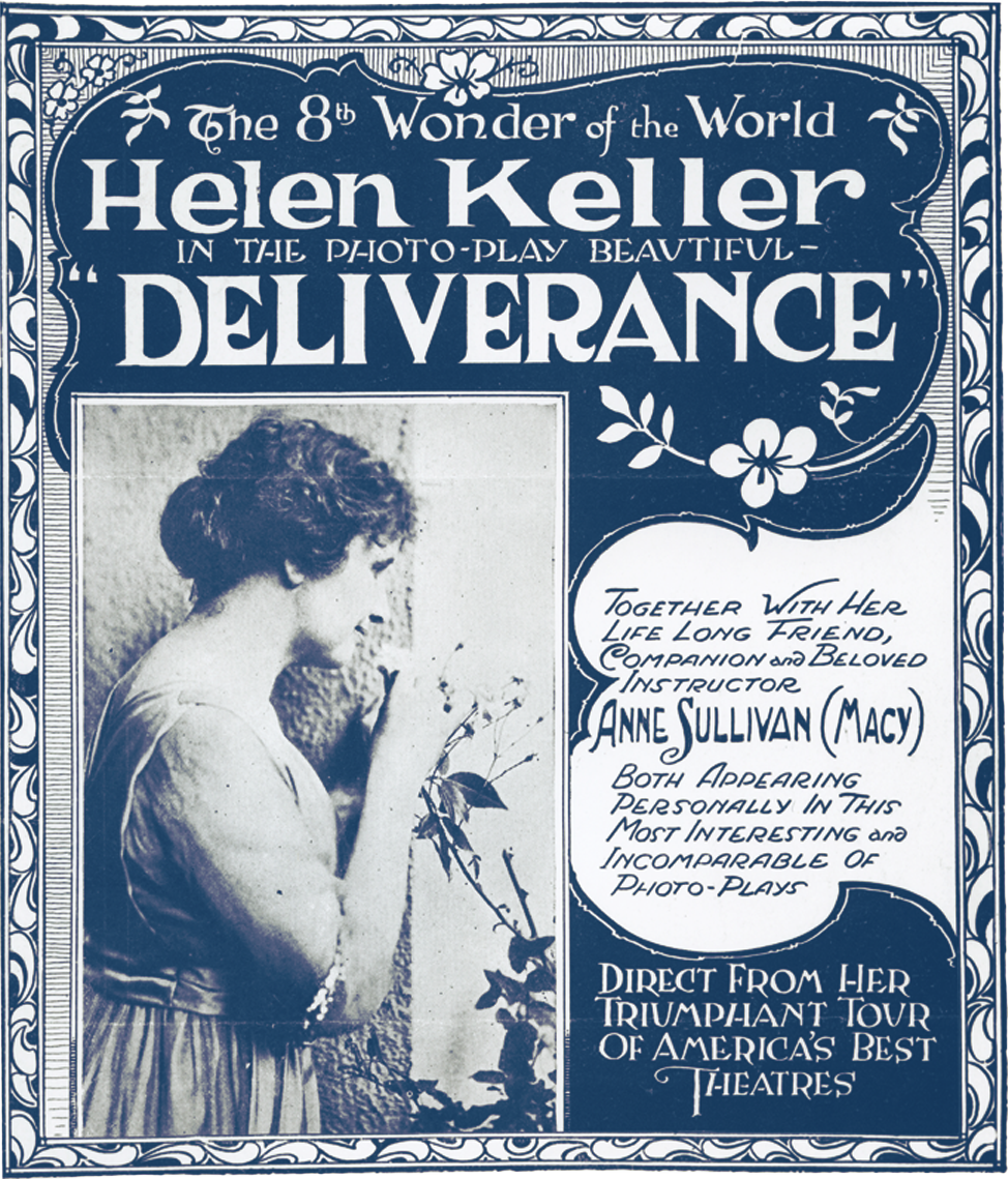 "Poster for Helen Keller bio movie, Deliverance, calling her the ""8th Wonder of the World"""