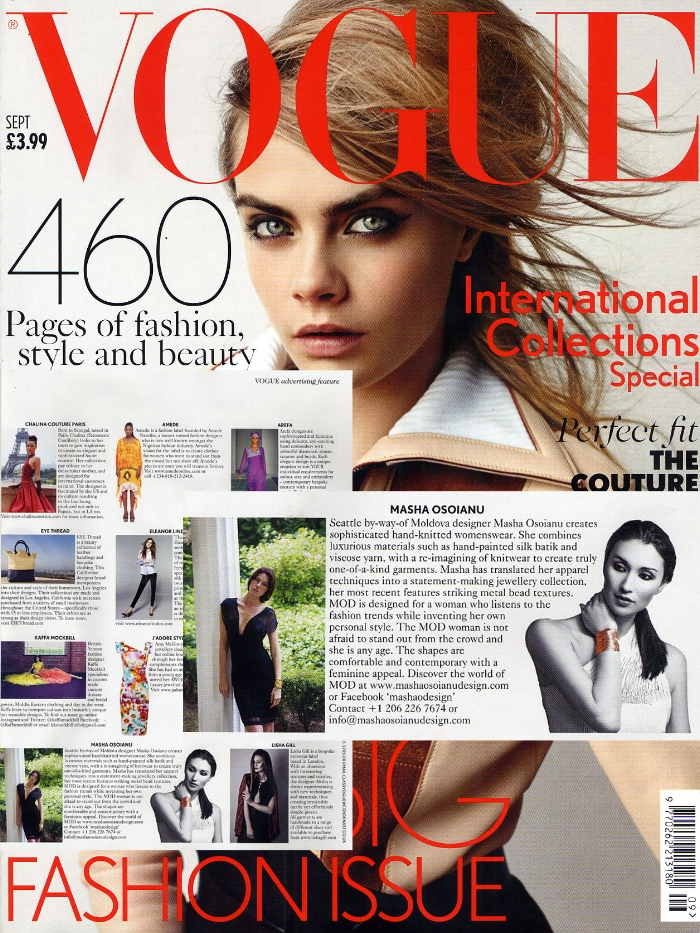 Masha Osoainu Design was featured in British Vogue/September/14 issue, as emerging designer to look out for
